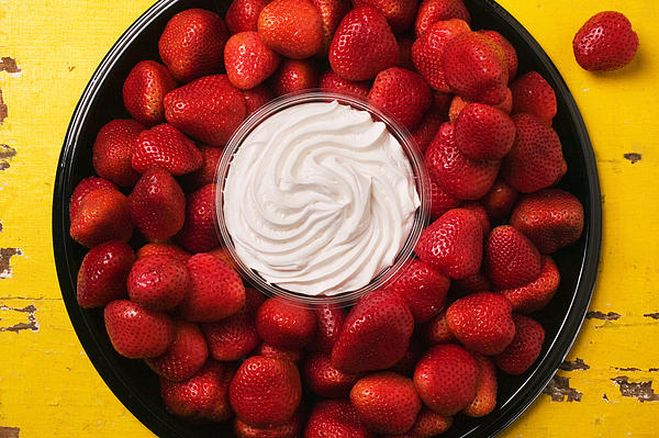 Round Tray Of Strawberries  Print by Garry Gay