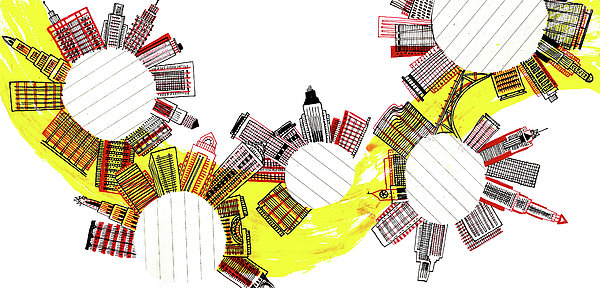 Rounded Cities Print by Catarina Bessell