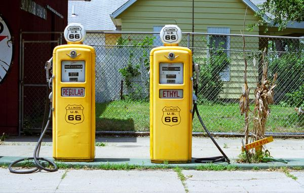 Route 66 - Illinois Gas Pumps Print by Frank Romeo
