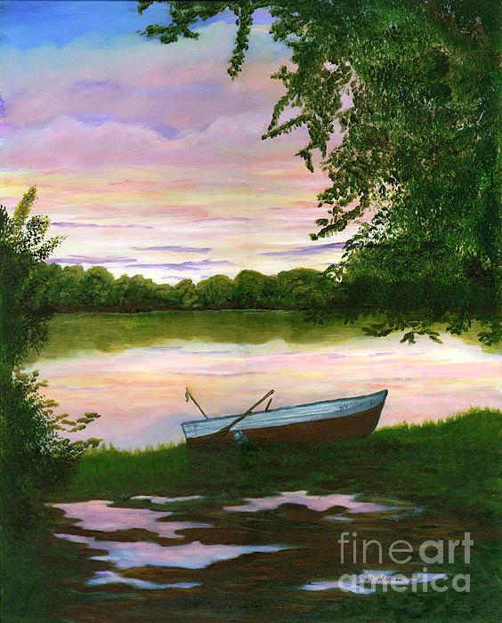 Row Boat Painting Print by Judy Filarecki