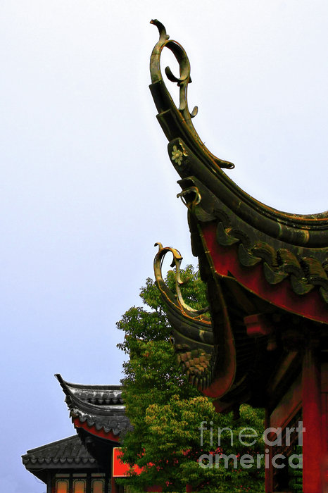 Row Of Chinese Rooftops Print by Christine Till