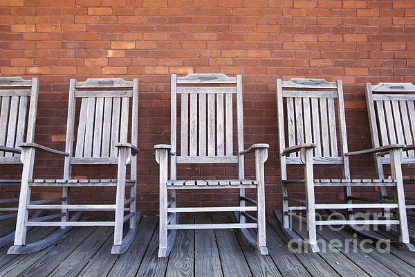 Row Of Rocking Chairs Print by Skip Nall