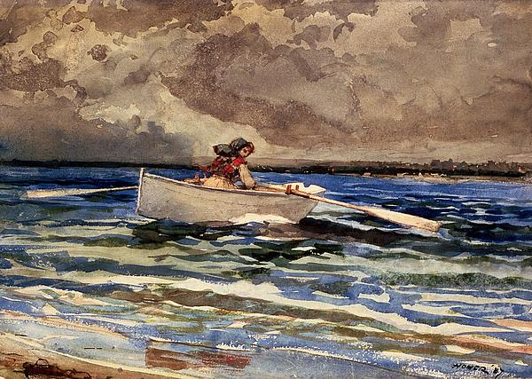Rowing At Prouts Neck Print by Winslow Homer