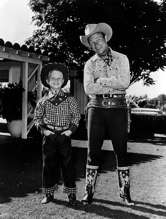 Roy Dusty Rogers Jr., And His Father Print by Everett