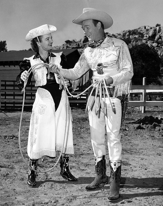 Roy Rogers Right, And His Wife Dale Print by Everett