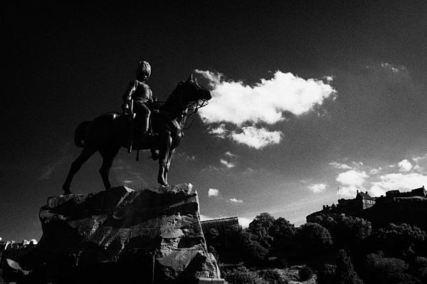 Royal Scots Greys Boer War Monument In Princes Street Gardens With Edinburgh Castle In The Backgroun Print by Joe Fox