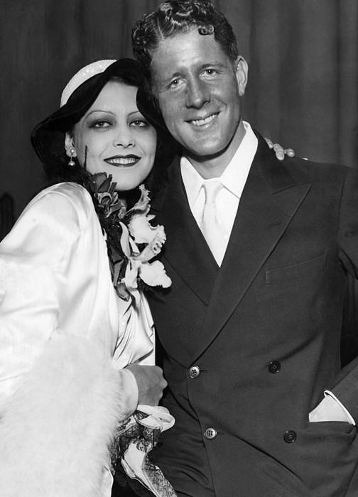 Rudy Vallee Right, And His Wife, Fay Print by Everett