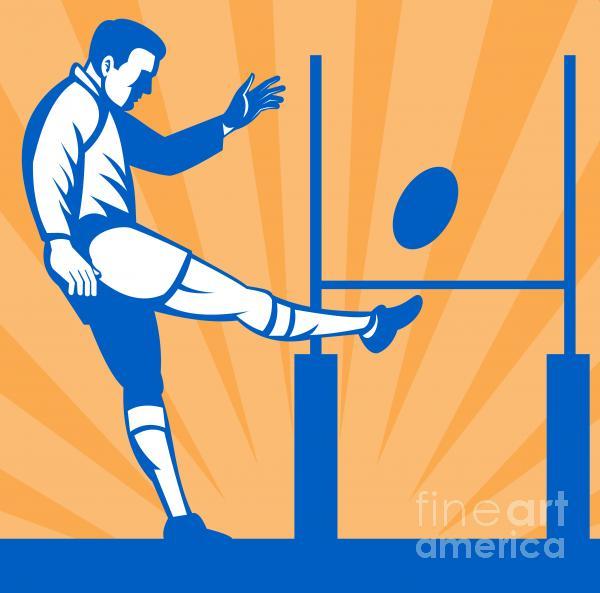 Rugby Goal Kick Print by Aloysius Patrimonio