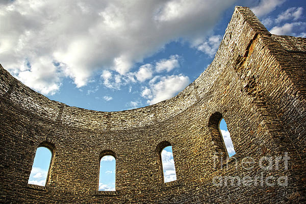 Ruin Wall With Windows Of An Old Church  Print by Sandra Cunningham