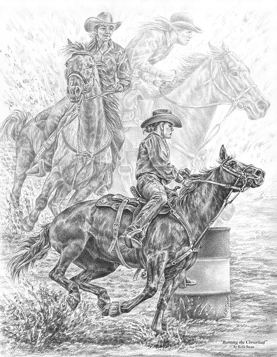 Kelli Swan - Running the Cloverleaf - Rodeo Barrel Race Print