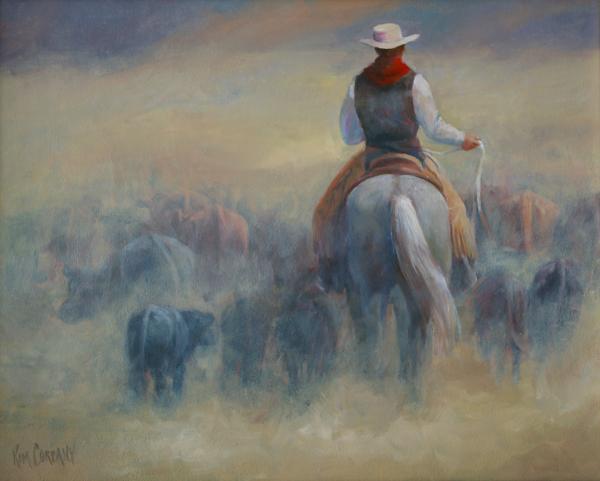 Kim Corpany - Rush Hour Traffic   western art cowboy painting