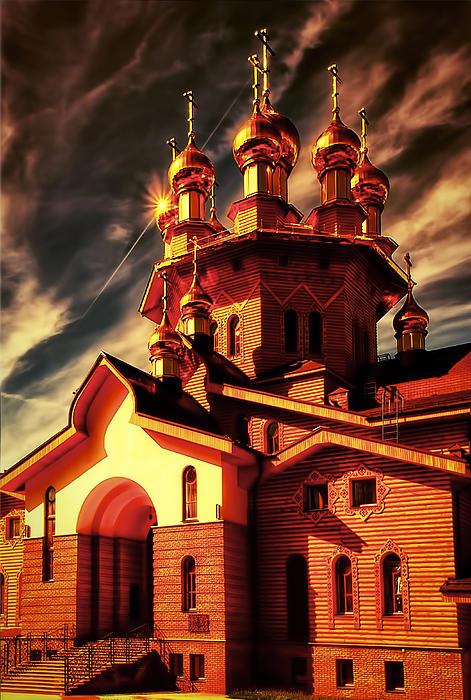 Russian Wooden Church II Print by Gennadiy Golovskoy