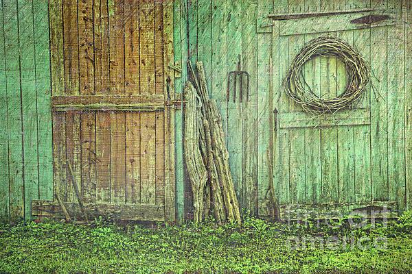 Rustic Barn Doors With Grunge Texture Print by Sandra Cunningham