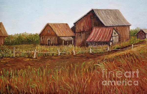 Rustic Barns Print by Reb Frost
