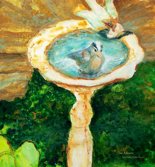Rustic Birdbath Print by Jan Moore