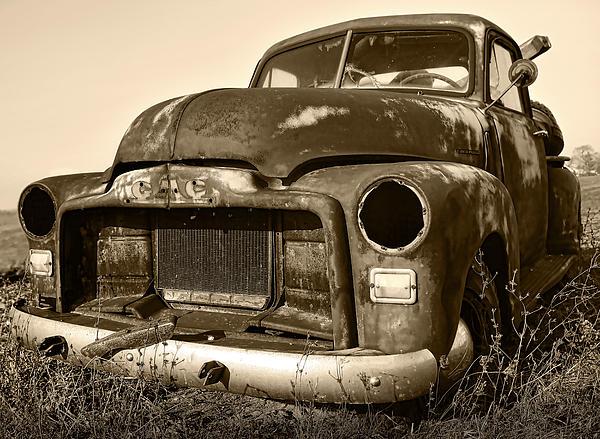 Rusty But Trusty Old Gmc Pickup Print by Gordon Dean II