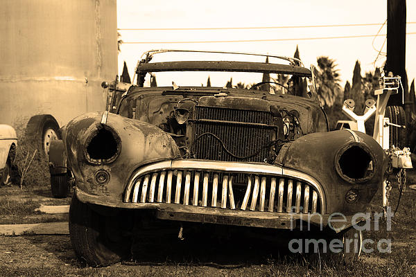 Rusty Old American Car . 7d10343 . Sepia Print by Wingsdomain Art and Photography