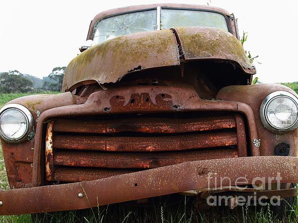 Rusty Old Gmc Truck . 7d8396 Print by Wingsdomain Art and Photography