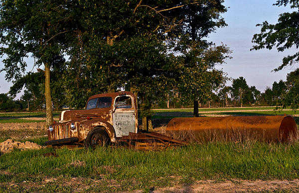 Rusty Truck And Tank Print by Douglas Barnett