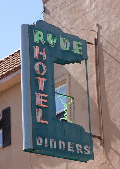 Ryde Hotel Sign Print by Troy Montemayor
