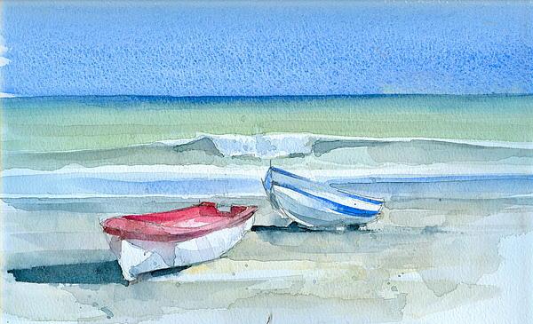 Sabinillas Fishing Boats Print by Stephanie Aarons