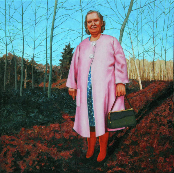 Sadie In Pink Print by Allan OMarra