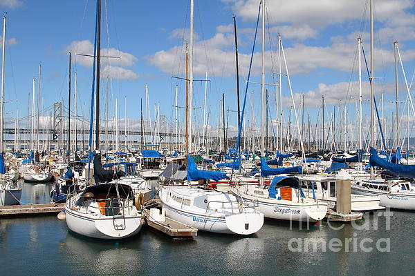 Sail Boats At San Francisco China Basin Pier 42 With The Bay Bridge In The Background . 7d7688 Print by Wingsdomain Art and Photography