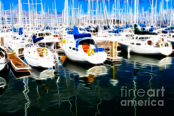 Sail Boats At San Francisco's Pier 42 . Electrified Print by Wingsdomain Art and Photography