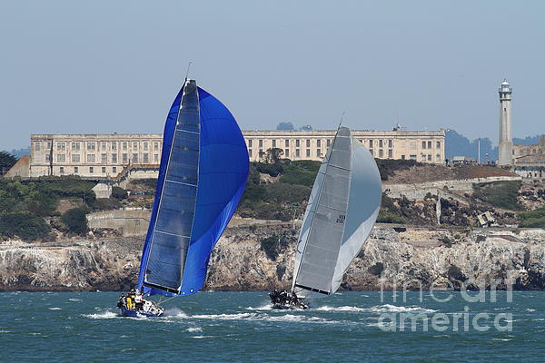 Sail Boats On The San Francisco Bay - 7d18360 Print by Wingsdomain Art and Photography