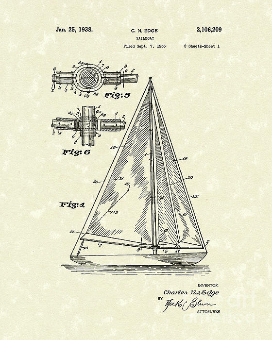 Sailboat 1938 Patent Art Print by Prior Art Design