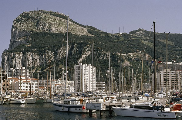 Sailboats Moored In Gibraltar Bay Print by Lynn Abercrombie