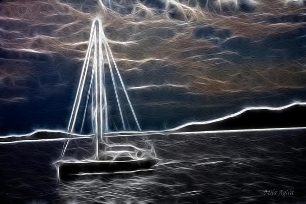 Sailing At Night Print by Mila Agirre