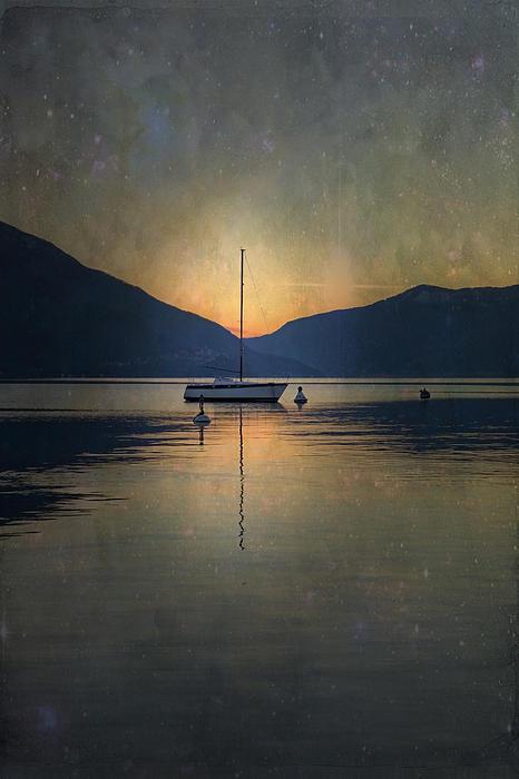 Sailing Boat At Night Print by Joana Kruse