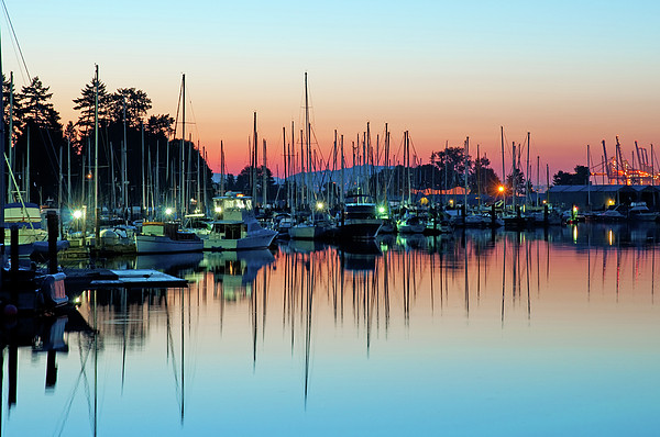 Sailing Boats In Coal Harbour Print by Dean Bouchard (Being There Photography)