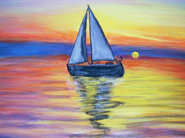 Sailing Into The Sunset Painting  - Sailing Into The Sunset Fine Art Print