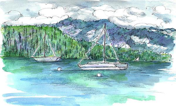 Sailing Lake Tahoe Print by Cathie Richardson