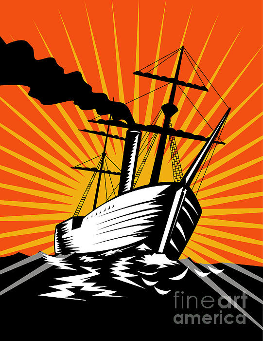 Sailing Ship Retro Woodcut Print by Aloysius Patrimonio