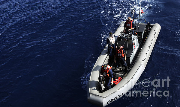Sailors Stand Watch On A Rigid-hull Print by Stocktrek Images