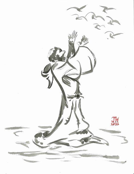 Saint Francis Preaches To The Birds Print by Jason Honeycutt