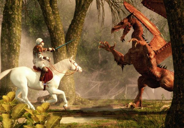 Saint George And The Dragon Print by Daniel Eskridge