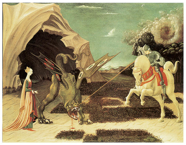 Saint George And The Dragon Print by Paolo Uccello