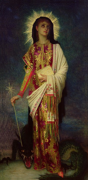 Saint Margaret Slaying The Dragon Print by Antoine Auguste Ernest Herbert