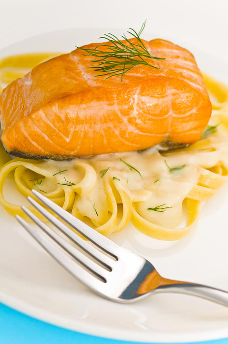 Salmon Steak On Pasta Decorated With Dill Print by Ulrich ...
