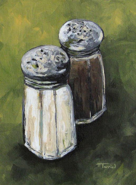 Salt And Pepper On Green Print by Torrie Smiley