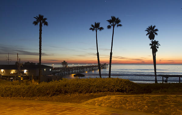San Clemente Pier At Sunset Print by Barbara Eads