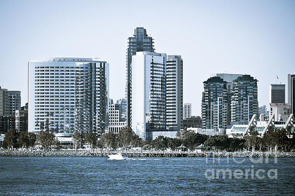 San Diego Downtown Waterfront Buildings Print by Paul Velgos