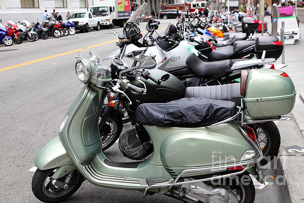 San Francisco - Scooters And Motorcycles Along Sansome Street - 5d17654 Print by Wingsdomain Art and Photography