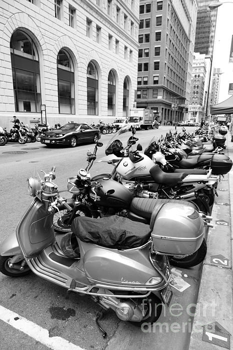 San Francisco - Scooters And Motorcycles Along Sansome Street - 5d17657 - Black And White Print by Wingsdomain Art and Photography