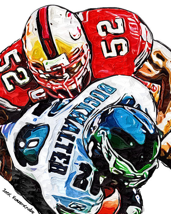 San Francisco 49ers Patrick Willis Philadelphia Eagles Correll Buckhalter  Print by Jack K