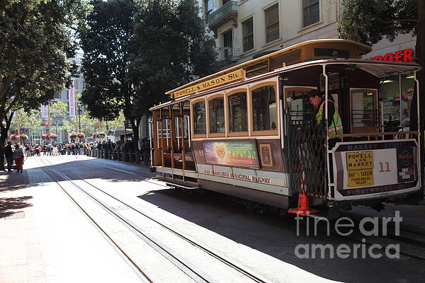 San Francisco Cable Car At The Powell Street Cable Car Turnaround - 5d17963 Print by Wingsdomain Art and Photography